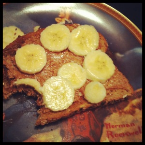 toast with almond butter and banana
