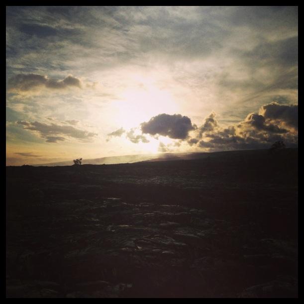 Sunset on the old lava fields of Kalapana.